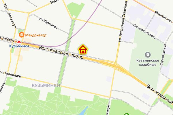 Дом на Волгорадском проспекте на карте Москвы