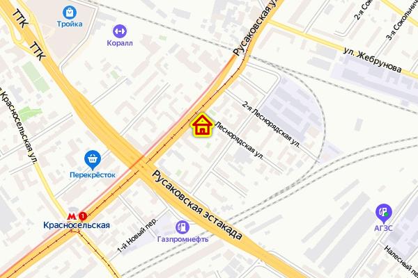 Дом по реновации на Русаковской улице на карте