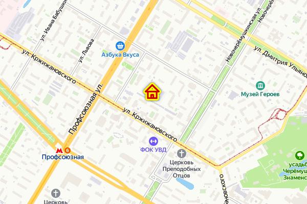 Дом по реновации на ул. Кедрова на карте