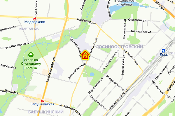 Дом по реновации на. ул Тайнинская на карте