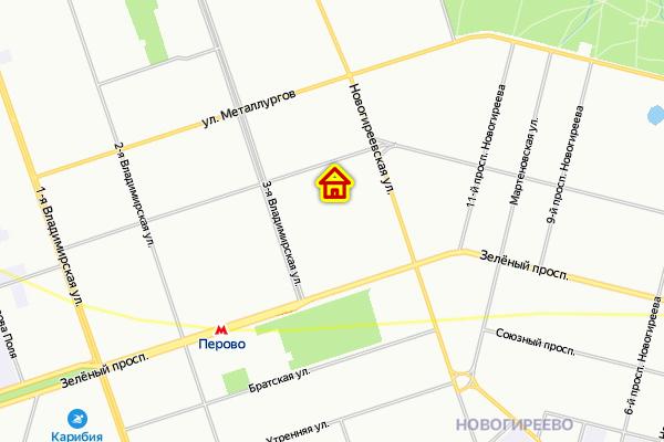 Дом по реновации в Перово ВАО Москвы на карте