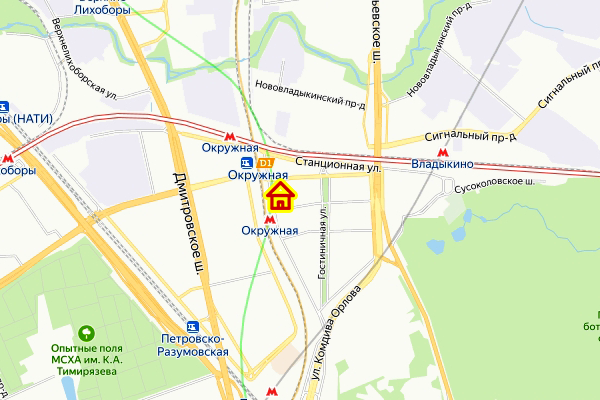 Дом по реновации в р-не Марфино на карте