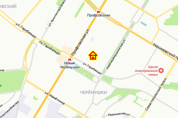 Дом по реновации в районе Черемушки ЮЗАО Москвы на карте