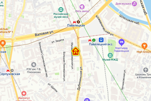 Гостиница в районе Замоскворечье ЦАО Москвы на карте