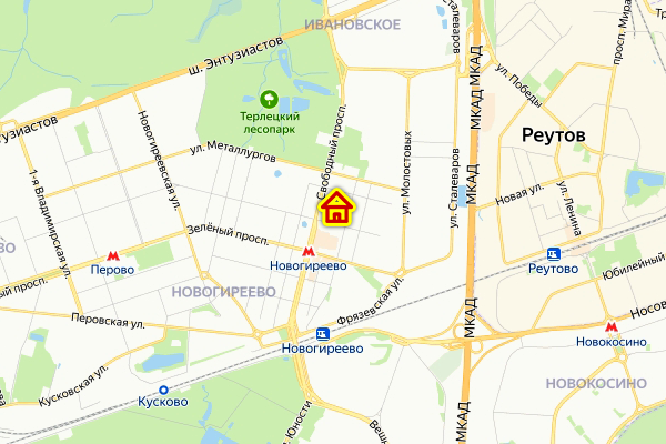 Место дома по реновации на Свободном проспекте на карте