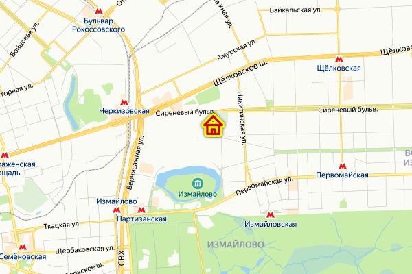 Место дома по реновации в районе Измайлово