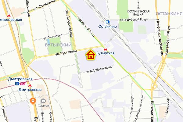 Место корпуса в Бутырском районе Москвы на карте