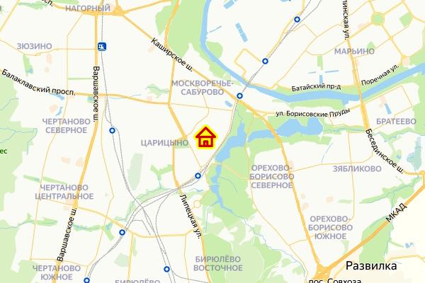 Место строек в Царицыно ЮАО Москвы на карте