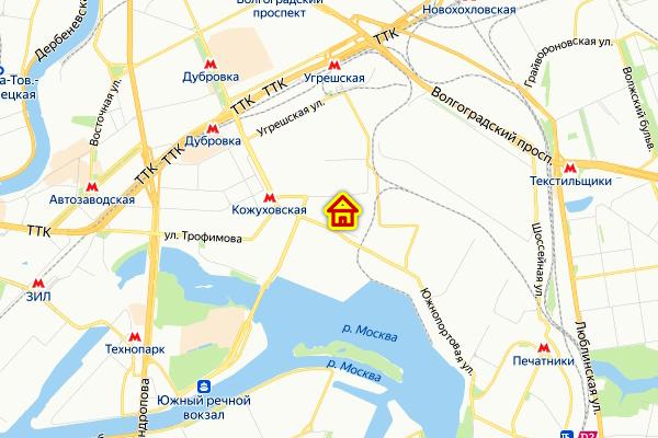 Место строительства в «Южном порту» на карте