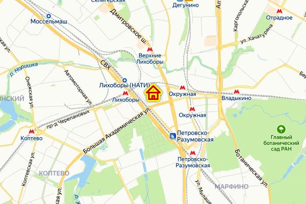 Место ЖК «Большая Академическая 85» на карте
