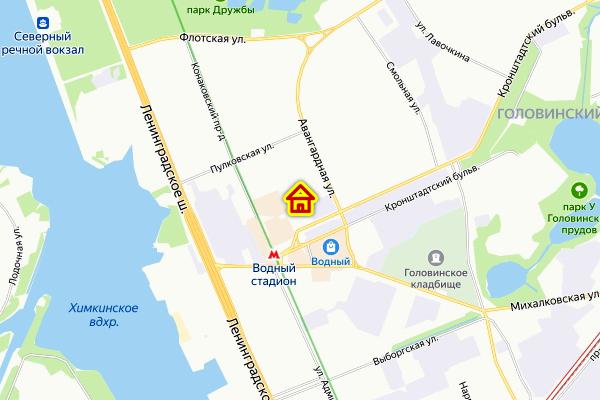 Место ЖК на Кронштадтском бульваре на карте