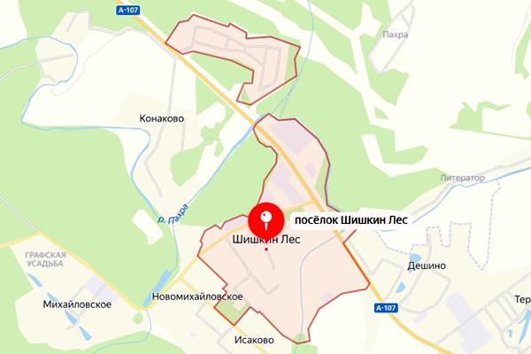 Поселок Шишкин Лес Троицкого АО Москвы на карте