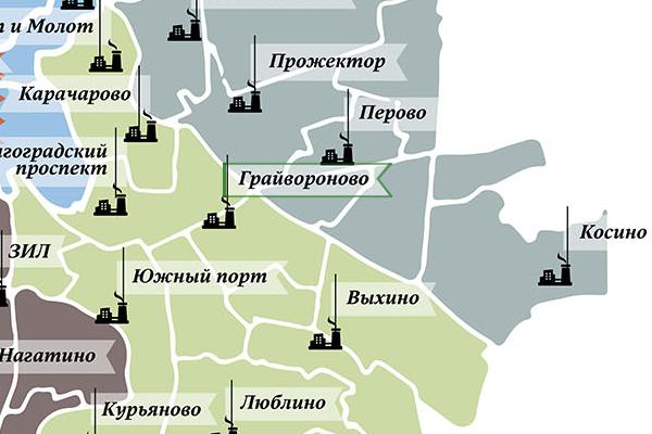 Промзона «Грайвороново» на карте Москвы