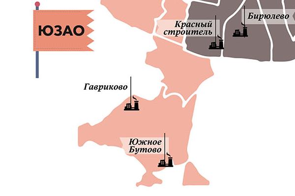 Промзона «Южное Бутово» на схеме Москвы