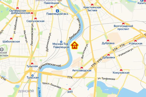 ЖК в Даниловском районе ЮАО Москвы на карте