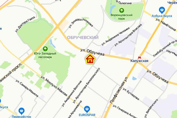 ЖК в Обручевском районе ЮЗАО Москвы на карте