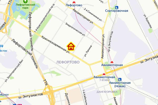 ЖК в районе Лефортово ЮВАО Москвы на карте