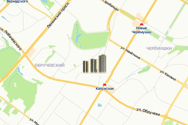 ЖК в районе Обручевский ЮЗАО Москвы на карте